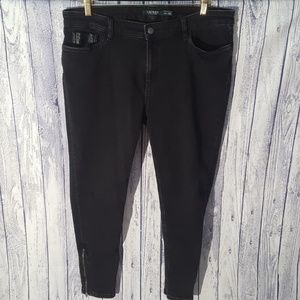 Ralph Lauren Black Leather Accent Zip Ankle Jeans